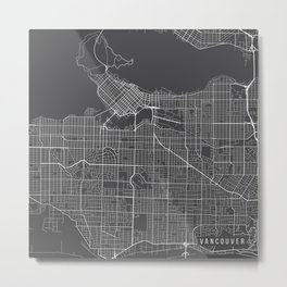 Vancouver Map, Canada - Gray Metal Print