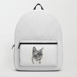 Black Cat portrait Black & White graphite pencil drawing Backpack