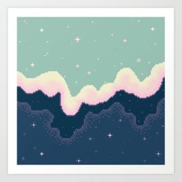 Pixel Day and Night Galaxy Art Print