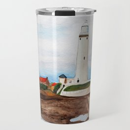 St. Mary's Lighthouse Watercolor Painting Travel Mug