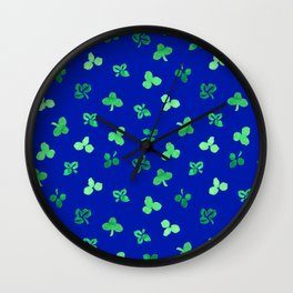 Clover Leaves Pattern on Royal Blue Wall Clock