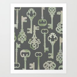 Skeleton Key Pattern in Gray Art Print