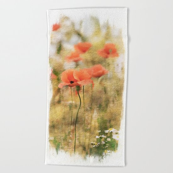 Poppy meadow -  photoadaption Beach Towel