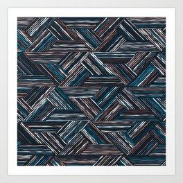 TRIANGLE-BLUE & WHITE STRIPES Art Print
