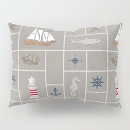 Nautical symbols on sandy background Pillow Sham