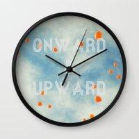 onward Wall Clocks featuring Onward & Upward by SilverSatellite