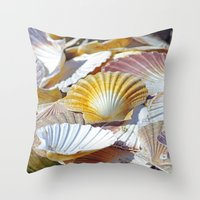 shells Throw Pillows featuring Shells by jacqi