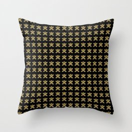 Replica of Pre-Columbian Pectoral Pattern in Gold Leaf on Black Throw Pillow