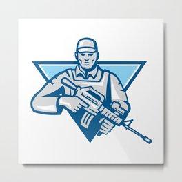 American Soldier Assault Rifle Retro Metal Print