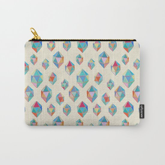 Floating Gems - a pattern of painted polygonal shapes Carry-All Pouch
