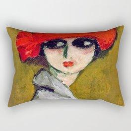 The Corn Poppy, Portrait of a Young Woman by Kees van Dongen Rectangular Pillow