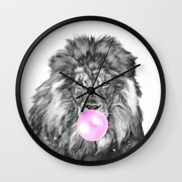 Bubble Gum Lion Black and White Wall Clock