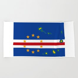 Cape Verde Flag with Map of the Cape Verde Islands Beach Towel