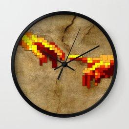 Michelangelo hands. Pixelation Wall Clock
