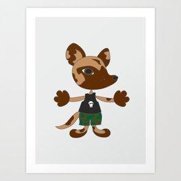 Wild dog character - cartoon style art. Desert dog. Art Print