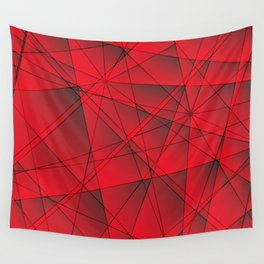 Geometric web of red lines with cross triangular highlights. Wall Tapestry