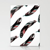 feathers Stationery Cards featuring FEATHERS by JoanaRosaC