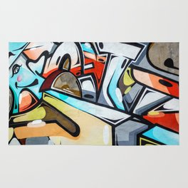 Graffiti blue cyan woman abstract impressionist street art colorful red gray yellow spraypaint urban Rug