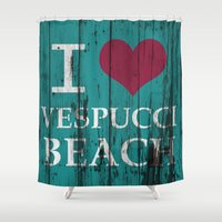 grand theft auto Shower Curtains featuring Los Santos I love Vespucci Beach Grand Theft Auto by KeenaKorn
