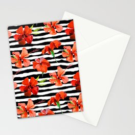 Hibiscus flower and stripes pattern Stationery Cards
