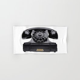 Old black telephone, middle of 20th century, aged and scuffed Hand & Bath Towel