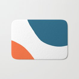 Meeting. Colorful Minimalist Abstract in Orange, Blue, and White Bath Mat