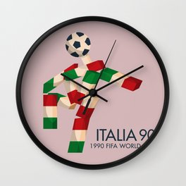 Vintage World Cup poster, Ciao, Italia 90 mascot, old football print Wall Clock
