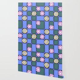 Retro Vintage Style Doodle Quilt - Green Blue Pink Wallpaper
