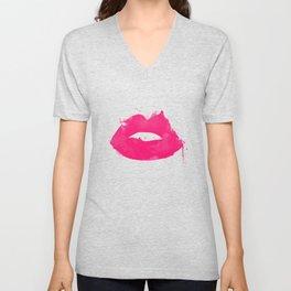 Watercolor kissing lips Unisex V-Neck
