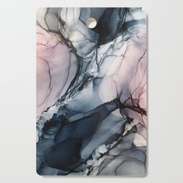 Blush, Navy and Gray Abstract Calm Clouds Cutting Board