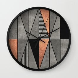Concrete and Copper Triangles Wall Clock