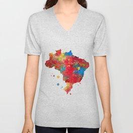Brazil Map Watercolor Painting Unisex V-Neck