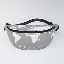 World Map Wanderlust Modern Travel Map in Gray With White Countries Fanny Pack