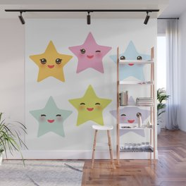 Kawaii stars, face with eyes, pink green blue purple yellow Wall Mural