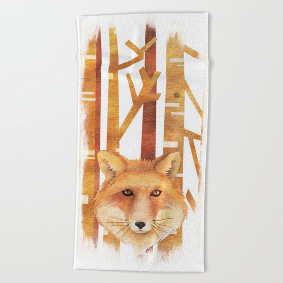Fox in the forest- Animal abstract watercolor illustration Beach Towel
