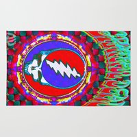 grateful dead Area & Throw Rugs featuring Grateful Dead #10 Optical Illusion Psychedelic Design by CAP Artwork & Design