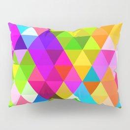 Bright Colorful Diamond Triangles Mosaic Pattern Pillow Sham