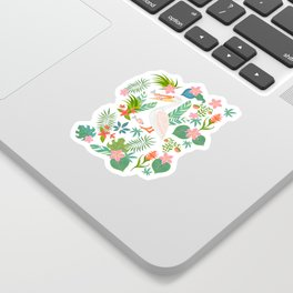 Floral Pelican Sticker