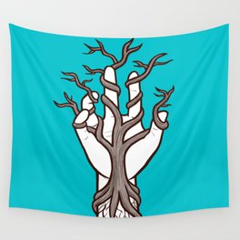 Bare tree growing within a hand – interlacing of nature and humanity Wall Tapestry