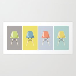 Colored Mid-Century Chairs Art Print