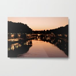 Tiber river at sunset Metal Print