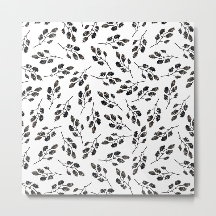 Black white watercolor hand painted floral leaves illustration Metal Print
