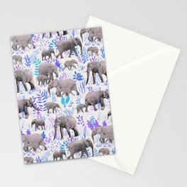 Sweet Elephants in Aqua, Purple, Cream and Grey Stationery Cards