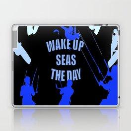 Wake Up Seas The Day Kiteboarder Royal Blue Laptop & iPad Skin