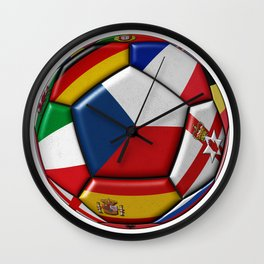 Soccer ball with flag of Czech in the center Wall Clock