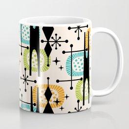 Retro Atomic Mid Century Pattern Orange Green and Turquoise Coffee Mug