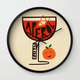 Aperol Spritz Cocktail Print Wall Clock
