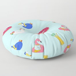 Summer pattern with cats playing in the pool Floor Pillow