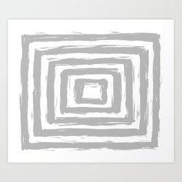 Minimal Light Gray Brush Stroke Square Rectangle Pattern Art Print