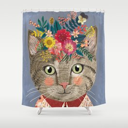Grey cat with flower crown Shower Curtain